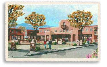 A vintage postcard recalls the atmosphere of the historic Santa Fe Plaza in earlier days (circa 1950s). Today, as then, the Plaza is the center of downtown Santa Fe: a place for locals and tourists alike to gather, socialize and shop for goods from the surrounding merchants. Many festivals and special events are held throughout the year on the Plaza.