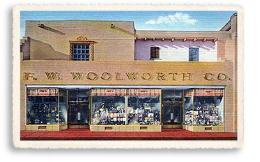 For decades Woolworth's was a constant presence off the south side of the Santa Fe Plaza. This postcard shows the popular dime-store in Santa Fe circa the 1940s.
